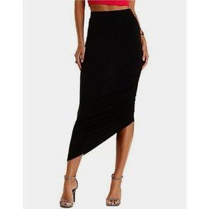 $ Charlotte Russe Ruched Asymmetrical Maxi Skirt